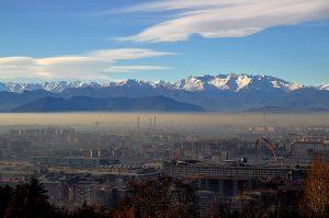 Vista de Turín con los Alpes al fondo. Fotografía de Antonio Lopera